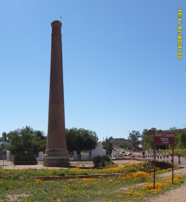Okiep, Namaqualand, a coppermining town. The chimney is left as a monument to Cornish miners who built Cornish=style beam pumps for the mines.