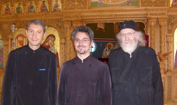 Fr Ciprian Burlacioiu, Fr Razvan Tatu & Deacon Stephen Hayes at Saheti School Chapel, 15 November 2015
