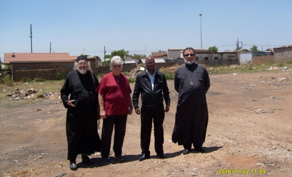Erf G1152 Soshanguve, with Deacon Stephen Hayes, Val Hayes, Simon Shabangu and Archbishop Damaskinos