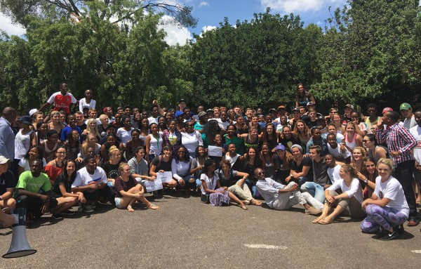 A group of students from Tuks unite in support of the ColourBlind movement as a protest against recent racial tension on the campus. Photo: eNCA / Ditiro Selepe