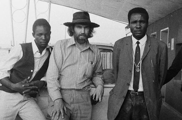 Gideon Iileka, Steve Hayes, Thomas Ruhozu. Kamanjab, Namibia, 5 Oct 1971