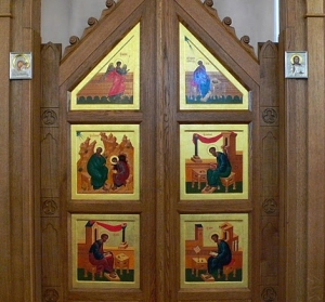 The Evangelismos in an Orthodox Church, showing the Annunciation and the four Evangelists.