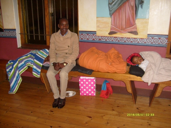 Some of the children fell asleep during the Paschal Vigil, so when everyone went into the hall for breakfast, Vusimuzi Nkabinda stayed behind in the church to keep an eye on them