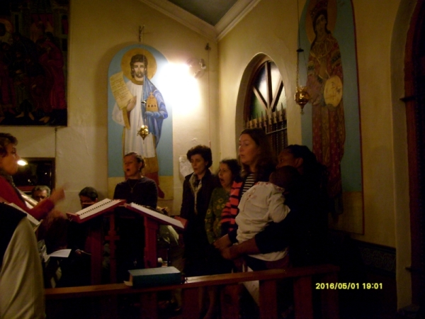 The choir at St Nicholas, Brixton, leaqding the singing of the Agape Vespers 1 May 2016