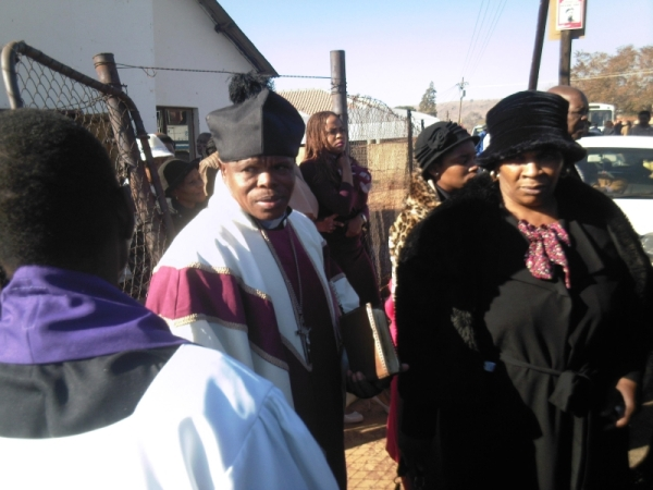Funeral of Philip Mabena, leaving the church after the service.