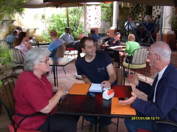 Literary Coffee Klatsch, on the 12th Day of Christmas. Val Hayes, Duncan Reyburn, David Levey