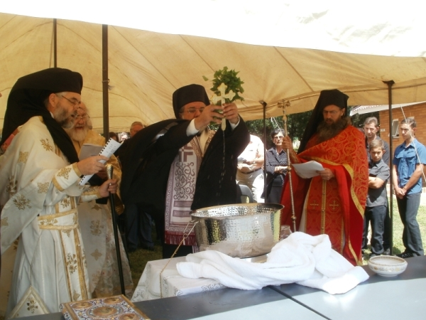 Archbishop Damaskinos doing the Lesser Blessing of Water